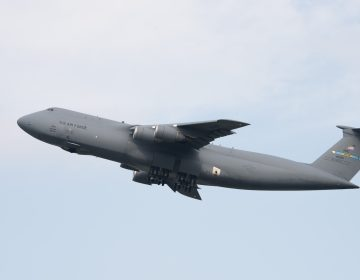 A C-5M Super Galaxy takes off at Dover Air Force Base. A new maintenance hangar could be in jeopardy following President Trump's emergency declaration at the southern U.S. border. (U.S. Air Force photo by Senior Airman Zachary Cacicia)