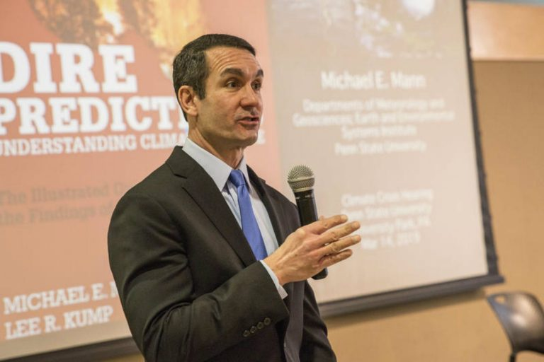 Pennsylvania Auditor General Eugene DePasquale hosted a public hearing on how the state is responding to climate change on Penn State's University Park campus on March 14, 2019. It's the first of three hearings DePasquale plans. (Min Xian/WPSU)
