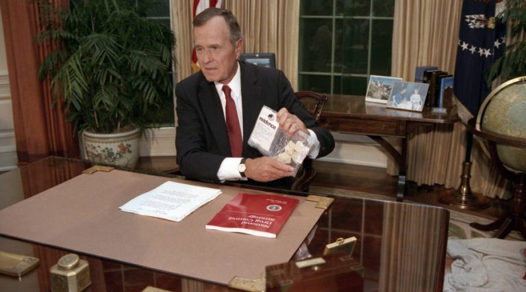 President George H.W. Bush addressing the nation on Sept. 5, 1989. The president illustrated the threat of drugs by holding up a baggie of crack he said had been seized across the street from the White House. (Courtesy of George Bush Presidential Library and Museum)