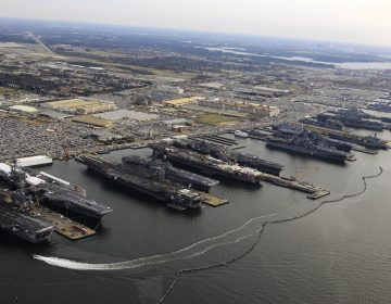 Naval Station Norfolk in Virginia, the Navy's largest base, is endangered by sea level rise. (Courtesy of Mass Communication Specialist 2nd Class Ernest R. Scott)