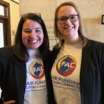 Jen Cavallaro-Fromm and Andrea Katz, educators in New Jersey, attended the first public budget hearing of the year in Trenton on Wednesday. (Joe Hernandez/WHYY)