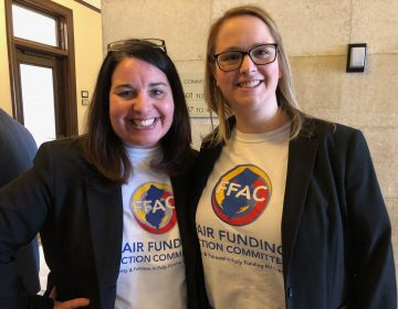 Jen Cavallaro-Fromm and Andrea Katz, advocates in New Jersey, attended the first public budget hearing of the year in Trenton on Wednesday. (Joe Hernandez/WHYY)