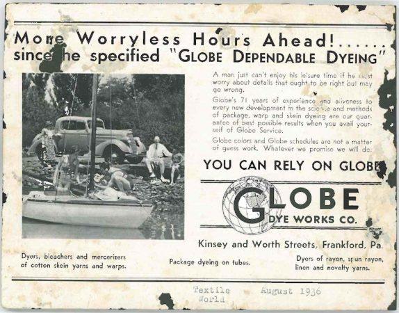 Globe Dye Works ad, 1936. (Courtesy of Globe Dye Works)