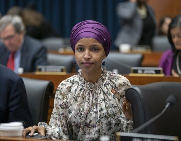 Rep. Ilhan Omar, D-Minn., sits with fellow Democrats on the House Education and Labor Committee during a bill markup, on Capitol Hill in Washington, Wednesday, March 6, 2019. Omar stirred controversy last week saying that Israel's supporters are pushing U.S. lawmakers to take a pledge of