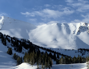 Like most American ski areas, Mammoth Mountain Ski Area operates on U.S. Forest Service land thanks to a federal lease. Shrinking federal budgets to maintain recreational access to public lands mean locals have to be creative to keep trails open and safe. (Kirk Siegler/NPR)
