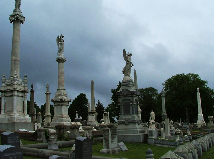 Three angel statues seen at Laurel Hill Cemetery in Philadelphia, Pa. (Image courtesy of Friends of Laurel Hill Cemetery)
