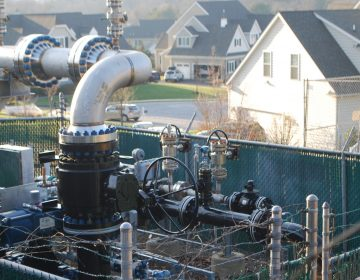 A Mariner East pipeline valve site on the edge of the Andover development, Thornbury Township, Delaware County, illustrates the pipeline's path through densely-populated southeastern Pennsylvania. (Courtesy of Jon Hurdle)