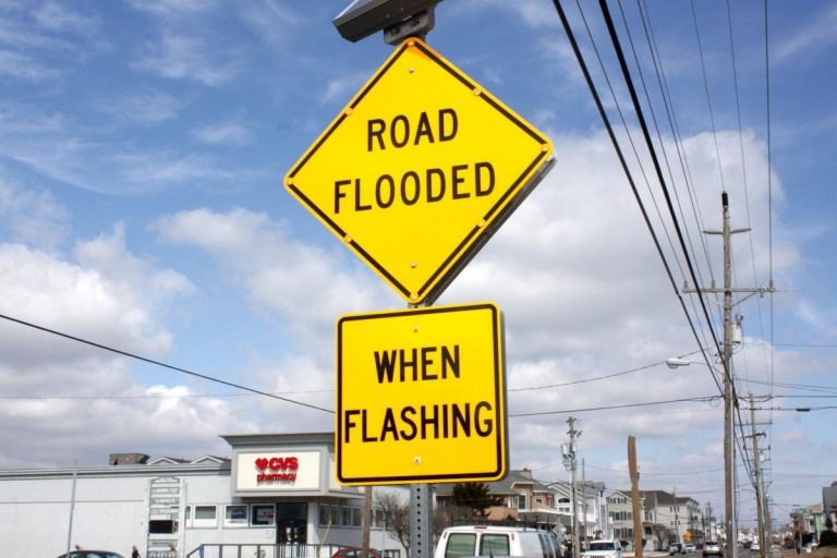 A flood warning sign installed in Sea Isle City. (Provided)