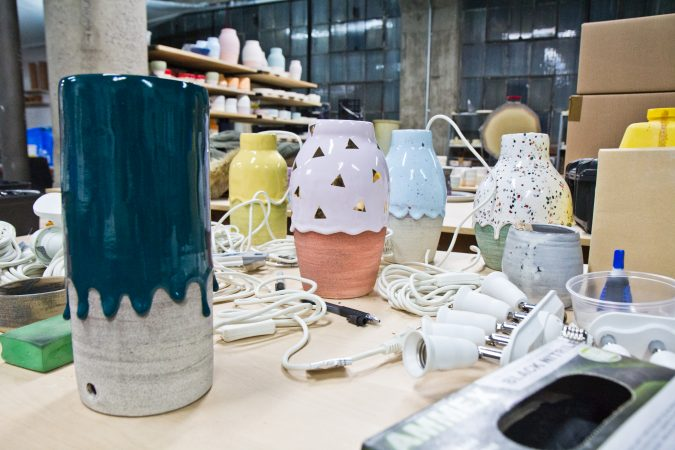Custom lamps by Giniewski Ceramics at the Globe Dye Works building. (Kimberly Paynter/WHYY)