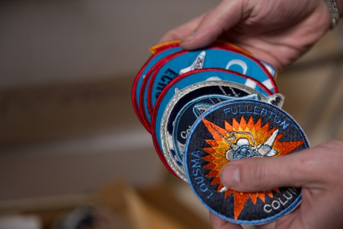 Mission patches from the space program. (Lindsay Lazarski/WHYY)