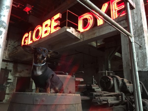 The neon Globe Dye Works sign is now on display in the boiler room. (Courtesy of Globe Dye Works)