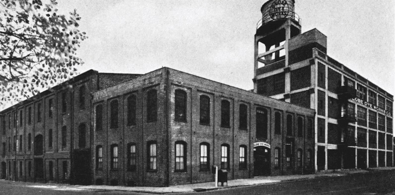 The original Globe Dye Works building built in 1867 by Greenwood & Bault still stands at the corner of Torresdale Avenue and Kinsey Street. (Courtesy of Globe Dye Works)