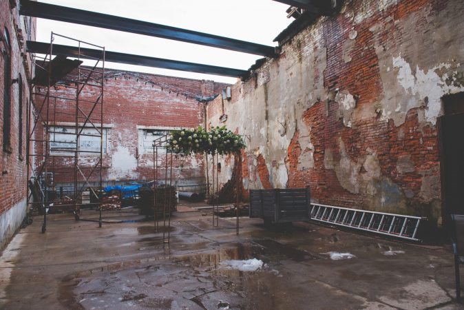 The yet-to-be-finished courtyard inside the former Globe Dye Works building. (Courtesy of Birchtree Catering/BeauMonde Originals)