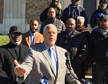 At a news conference in front of Bartram High School in Southwest Philadelphia, State Sen. Anthony Williams, who's running against Jim Kenney in the mayoral race, criticized Kenney's work on stemming violence in Philadelphia. (Dave Davies/WHYY)