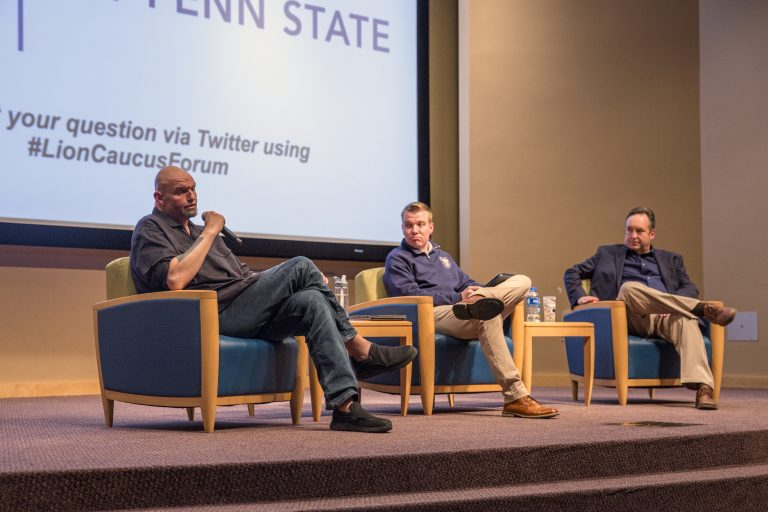 Pennsylvania Lieutenant Governor John Fetterman (left) and Senate Majority Leader Jake Corman (right) took turns discussing the rising cost of college education at Penn State's University Park campus on Thursday, April 11, 2019. (Min Xian / Keystone Crossroads)