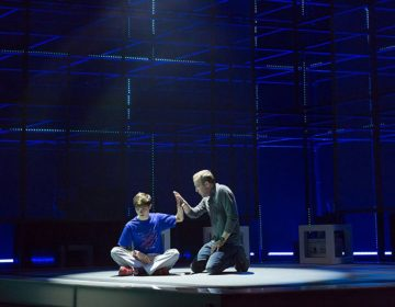 Austin Nedrow as Christopher (left) and Ian Merrill Peakes as his father, in Walnut Street Theatre's production of