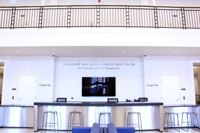 The Robert and Eileen Kennedy Heim Center for Cultural and Civic Engagement occupies the ground floor of the library. (Emma Lee/WHYY)