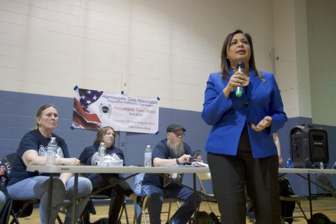 Councilwoman Maria Quiñones-Sànchez speaks during a meeting where representatives from Safehouse respond to the questions and concerns of neighbors at the Heitzman Rec Center on Thursday night. (Bastiaan Slabbers for WHYY)