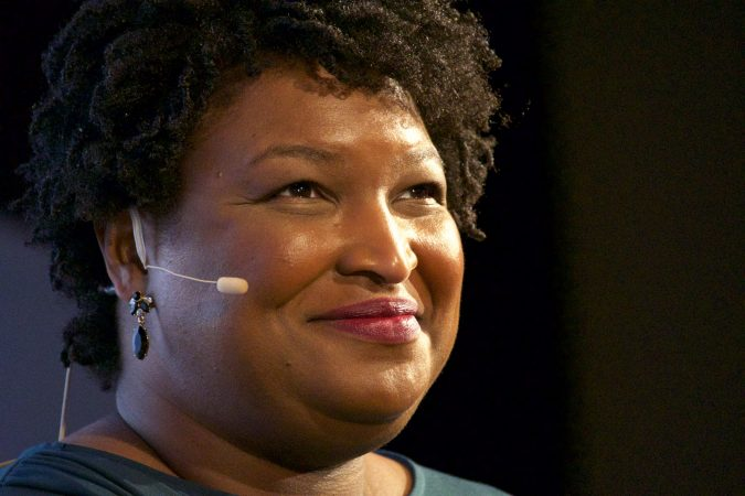 Stacey Abrams speaks about politics and her life during an interview with Marty Moss-Coane for Radio Times, in front of a live audience at WHYY in Philadelphia, Pa., April 5, 2019. (Bastiaan Slabbers for WHYY)