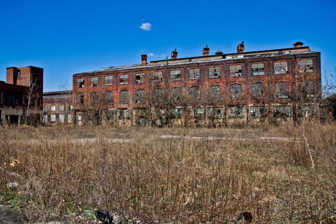 Building 58 of the former Roebling factory. Trenton Mayor Reed Gusciora said the city is hoping to renovate all the buildings on Block II. (Kimberly Paynter/WHYY)