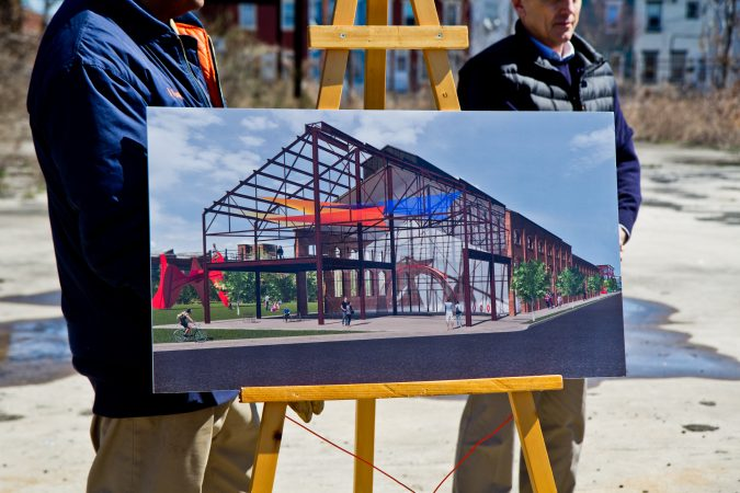 This rendering from Princetel, a fiberoptic rotary joint manufacturer, shows redevelopment of the Roebling factory in Trenton, N.J. (Kimberly Paynter/WHYY)
