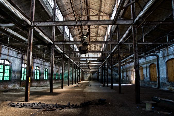 Inside building 57 on Block II of the former Roebling factory. Roebling once made steel cables.(Kimberly Paynter/WHYY)