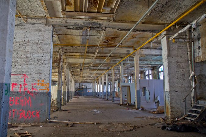 Inside building 57 on Block II of the former Roebling factory. Roebling once made steel cables. (Kimberly Paynter/WHYY)