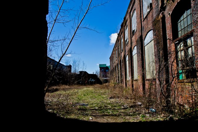 Block II of the former Roebling factory. (Kimbelry Paynter/WHYY)