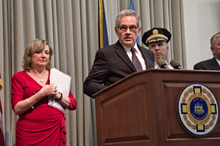Philadelphia District Attorney Larry Krasner and other investigators announce charges against Philadelphia towing company Hooked Inc. (Kimberly Paynter/WHYY)