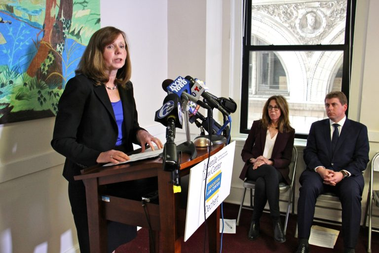 Maura McInerney, legal director fo Education Law Center, talks about a class action lawsuit against Glen Mills Schools which charges that boys at the reform school were abused and deprived of education. She is joined by Chief Legal Officer Marsha Levick and Michael McGinley, a partner at Dechert LLP. (Emma Lee/WHYY)