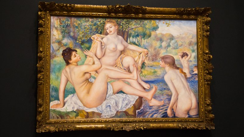"Renoir's ""The Bathers"" at ""The Impressionist's Eye"" exhibit at the Philadelphia Museum of Art. (Kimberly Paynter/WHYY)"