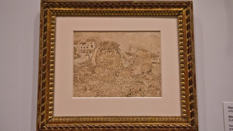 "Vincent van Gogh's ""Haystacks,"" a drawing, made with reed and quill pens. (Kimberly Paynter/WHYY)"