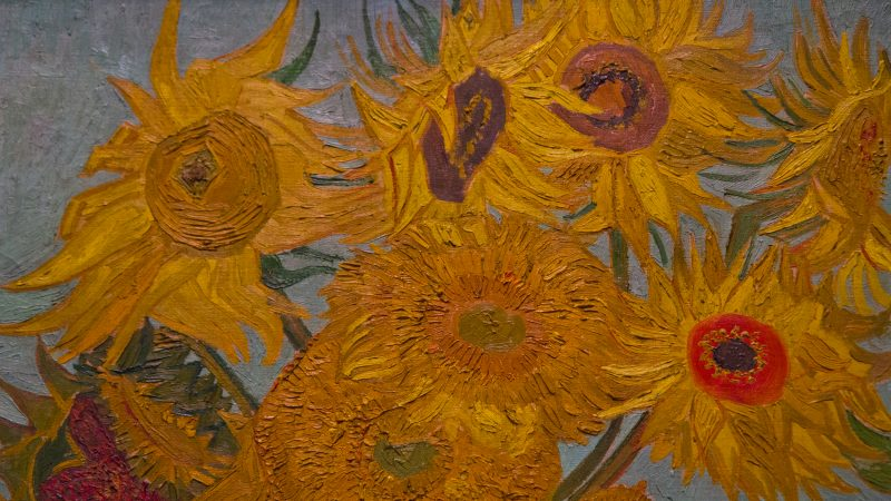 "Vincent Van Gogh's ""Sunflowers"" at ""The Impressionist's Eye"" exhibit at the Philadelphia Museum of Art. (Kimberly Paynter/WHYY)"