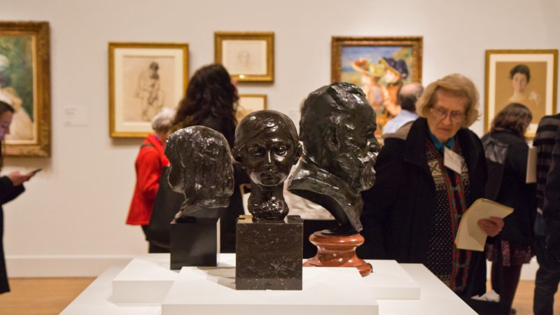 "Visitors admire impressionist sculpture at ""The Impressionist's Eye"" exhibit at the Philadelphia Museum of Art. (Kimberly Paynter/WHYY)"