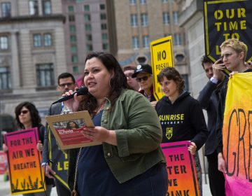 At-large city council candidate Erica Almirón speaks at New Sunrise Movement's New Green Deal Rally at City Hall Monday. (Kimberly Paynter/WHYY)