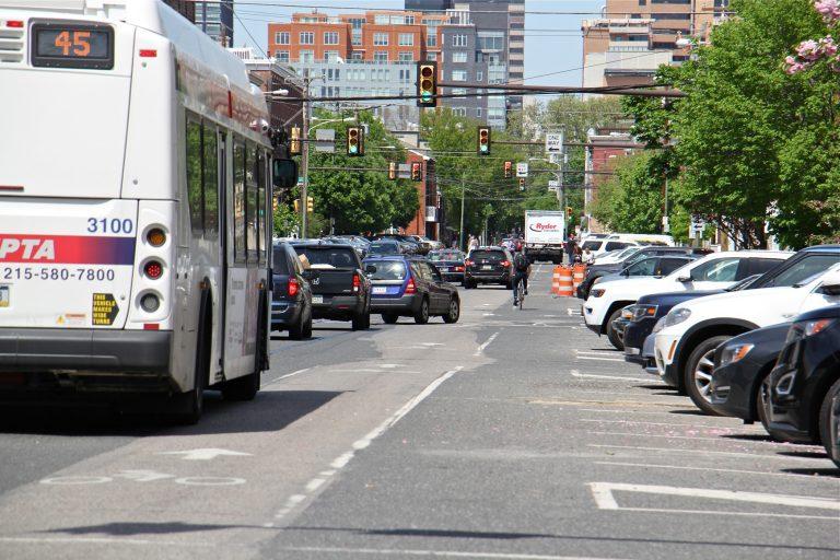 Traffic on 11th Street between Washington and Bainbridge streets. (Emma Lee/WHYY)