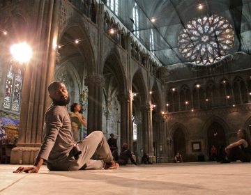 Dancers with the Fist and Heel Performance Group rehearse at the Church of the Advocate in Philadelphia. (Emma Lee/WHYY)