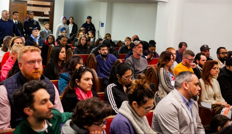 Philadelphia residents from Kensington and beyond attended a community forum in April 2019 discussing about a proposed supervised injection site. (Brad Larrison for WHYY)
