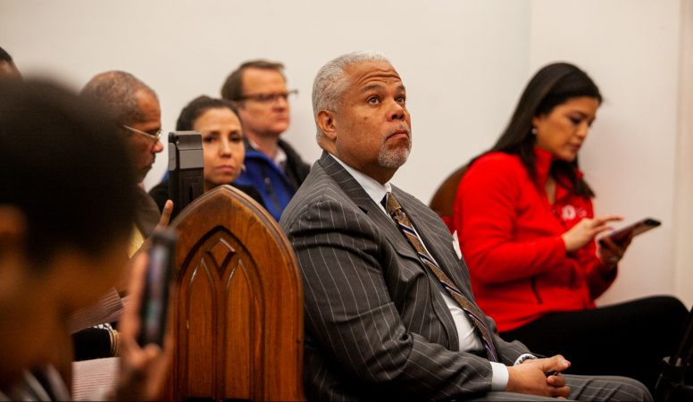 Democratic Mayoral Candidate Anthony Hardy WIlliams attended a community forum on a proposed safe injection site on Hilton Street near Kensington and Allegheny Avenue Monday evening at Bethel Temple Community Bible Church. (Brad Larrison for WHYY)