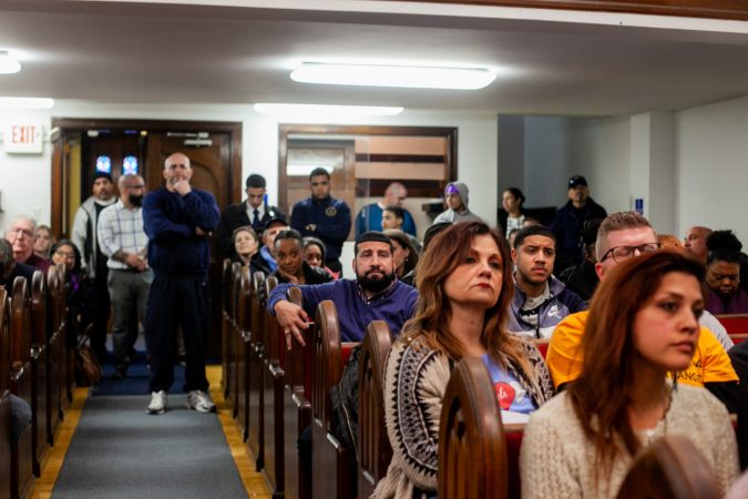 Philadelphia residents from Kensington and beyond atteneded a community forum discussing a proposed safe injection site on Hilton Street near Kensington and Allegheny Avenue. (Brad Larrison for WHYY)