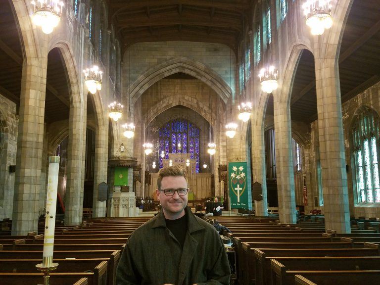 Bill Dietz is staging Maryanne Amacher's works inside the Holy Apostle and The Mediator Church in West Philadelphia this weekend. (Peter Crimmins/WHYY)