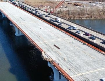 The the new span (left) of the Scudder Falls Bridge is expected to be open this summer. (Image via DRJTBC video)