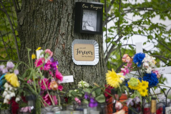 A memorial to remember Sincere Howard and Shirleen Caban who were killed on Sunday, April 21 at Von Nieda Park in Camden. A community rally was held to create safer environment for children on Thursday, April 25, 2019. (Miguel Martinez for WHYY)