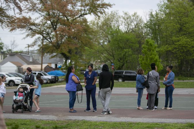 Community members gather to remember Sincere Howard and Shirleen Caban who were killed on Sunday, April 21 at Von Nieda Park in Camden. A community rally was held to create safer environment for children on Thursday, April 25, 2019. (Miguel Martinez for WHYY)
