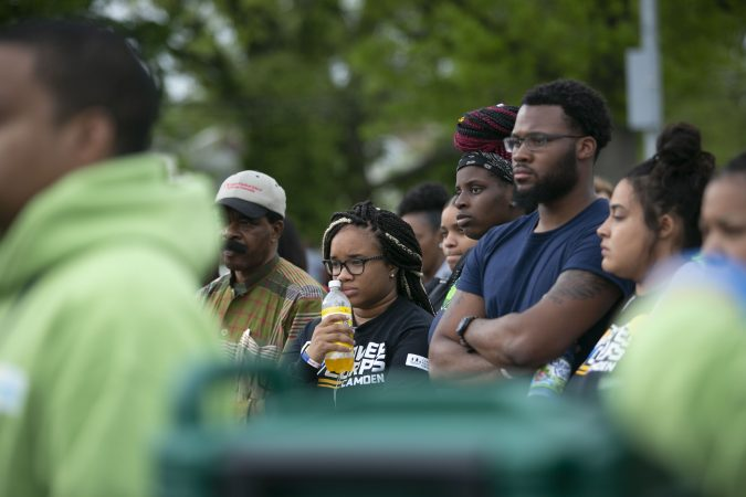 Camden residents participate participate in the community rally held in Camden to create safer environment for children on Thursday, April 25, 2019. (Miguel Martinez for WHYY)