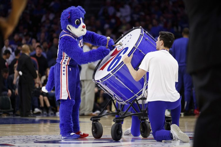 Philadelphia 76ers mascot Franklin plays the big drum during the first half in Game 5 of a first-round NBA basketball playoff series against the Brooklyn Nets, Tuesday, April 23, 2019, in Philadelphia. The 76ers won 122-100. (AP Photo/Chris Szagola)
