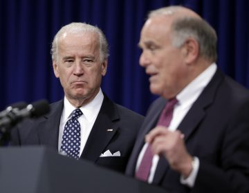 Former Vice President Joe Biden looks on at left as then-Pa. Gov. Ed Rendell speaks during a news conference at the Pennsylvania Capitol in Harrisburg, Pa., Wednesday, Feb. 11, 2009.  (Carolyn Kaster/AP Photo)