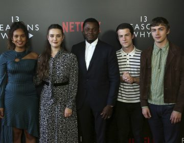 Alisha Boe, from left, Katherine Langford, Derek Luke, Dylan Minnette and Miles Heizer arrive at the