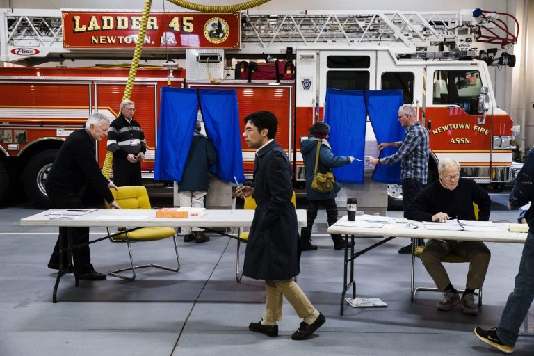 Voters cast their ballots at a fire station in Newtown, Pa., Tuesday, Nov. 6, 2018. (Matt Rourke/AP Photo)
