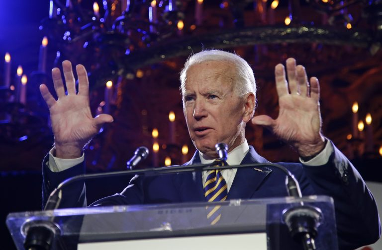 Former Vice President Joe Biden speaks at the Biden Courage Awards Tuesday, March 26, 2019, in New York. Responding to allegations of inappropriate behavior, the two most powerful women in Delaware's Legislature say Biden has always been respectful in their presence. (Frank Franklin II/AP Photo)